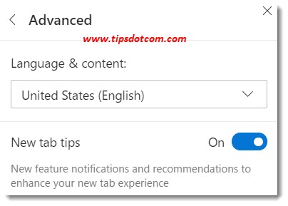 New Microsoft Edge new tab settings