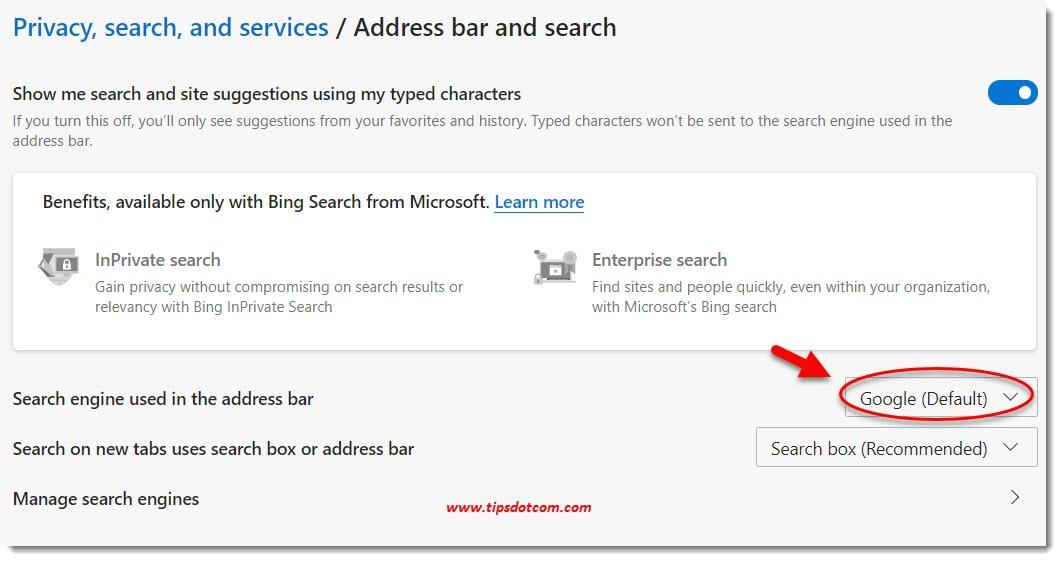 Changing the new Microsoft Edge Search Engine