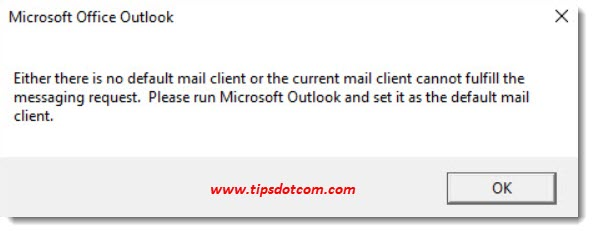 Microsoft Office Outlook - No default mail client