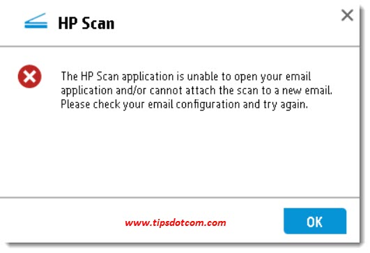 HP Scan application unable to open email