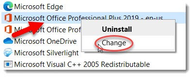 Right click and select change