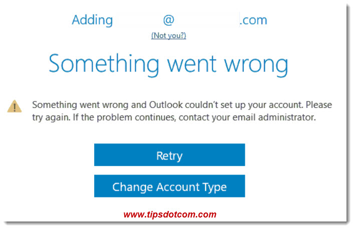 Outlook - Something went wrong error message