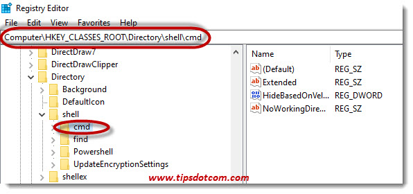 Navigate to Computer\HKEY_CLASSES_ROOT\Directory\shell\cmd