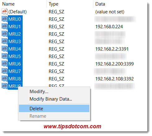 Select and delete to remove ip addresses from remote desktop connection