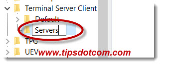 Type the name Servers for the remote desktop connection registry key