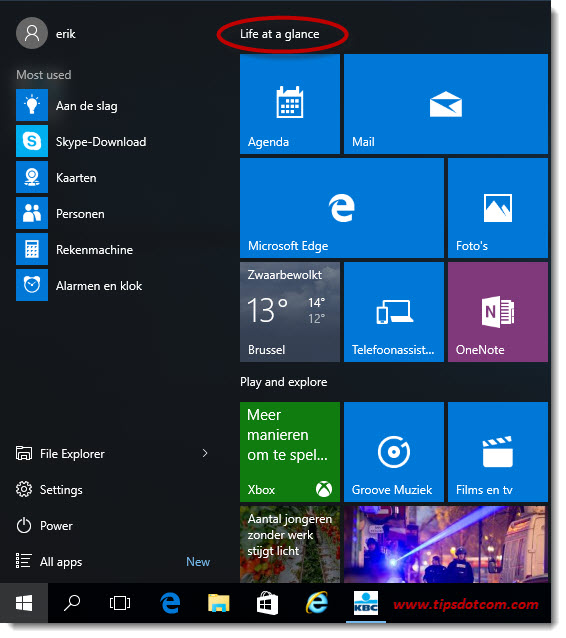 Remove Life At A Glance In Windows 10 01