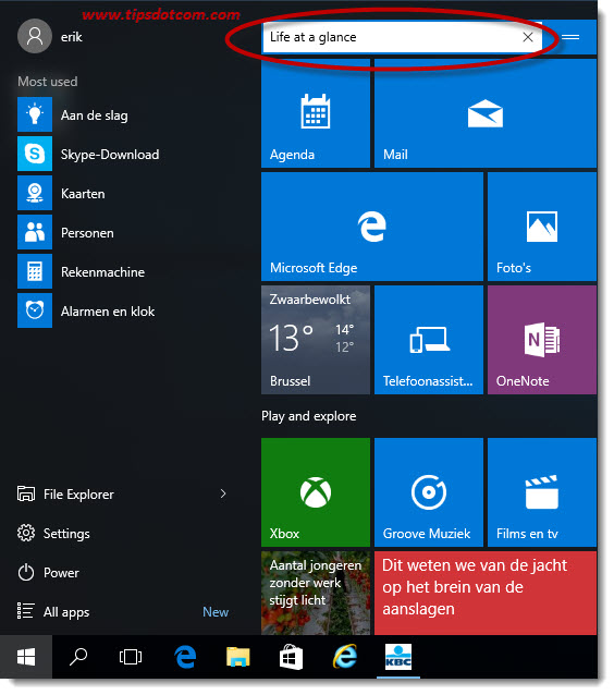 Remove Life At A Glance In Windows 10 03