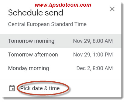 Options to schedule send an email