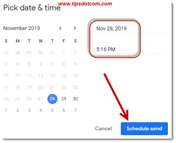 Pick a date and time to have your email sent