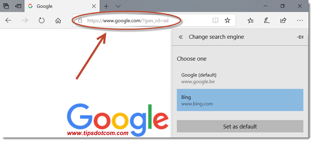 Search With Google in Microsoft Edge 11
