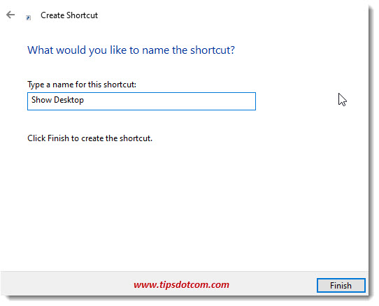Enter a name for the show desktop button