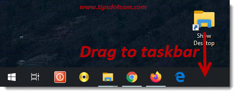 Drag the show desktop button to the taskbar