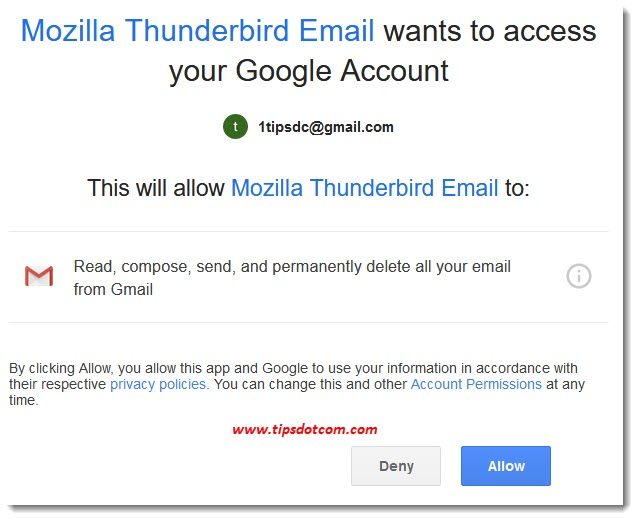 Thunderbird Gmail settings - access to your Google account
