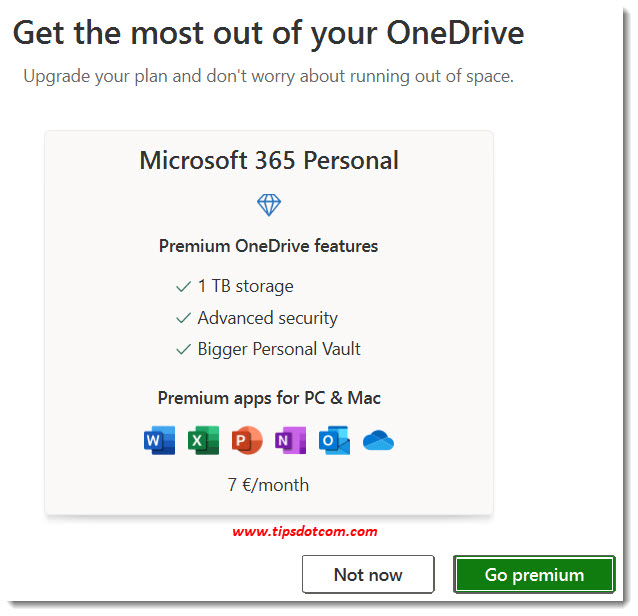 Microsoft Onedrive upgrade nudge