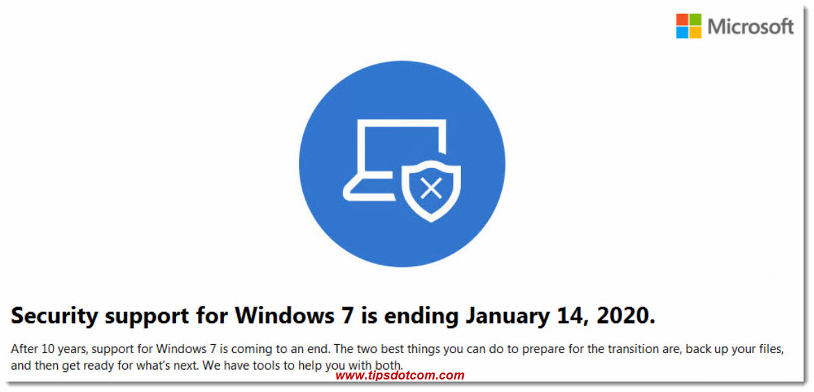 Security support is ending for Windows 7