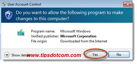 Click yes in the user account control window