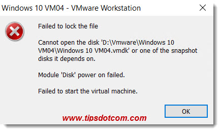 VMware Failed To Lock The File 01