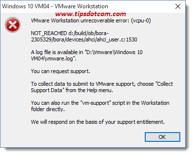 VMWare Workstation Unrecoverable Error 01