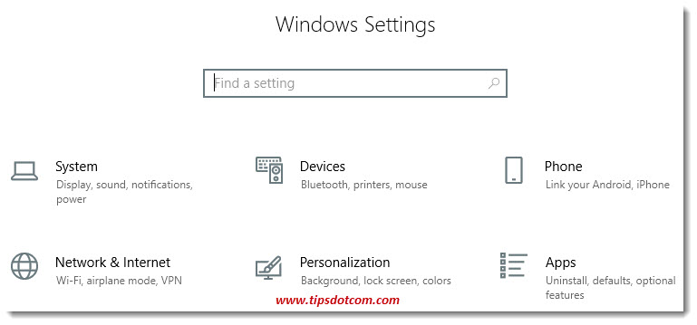 The Windows settings screen