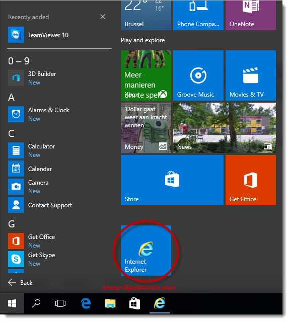 Windows 10 Internet Explorer 10
