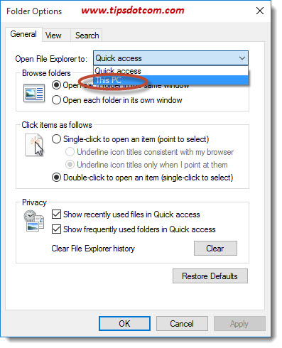 windows 10 how to choose for quick access