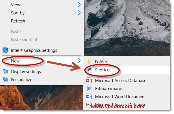 Select new - shortcut