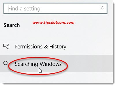 Searching Windows options in settings