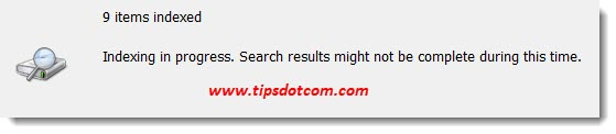 Indexing in progress to make Windows search file contents