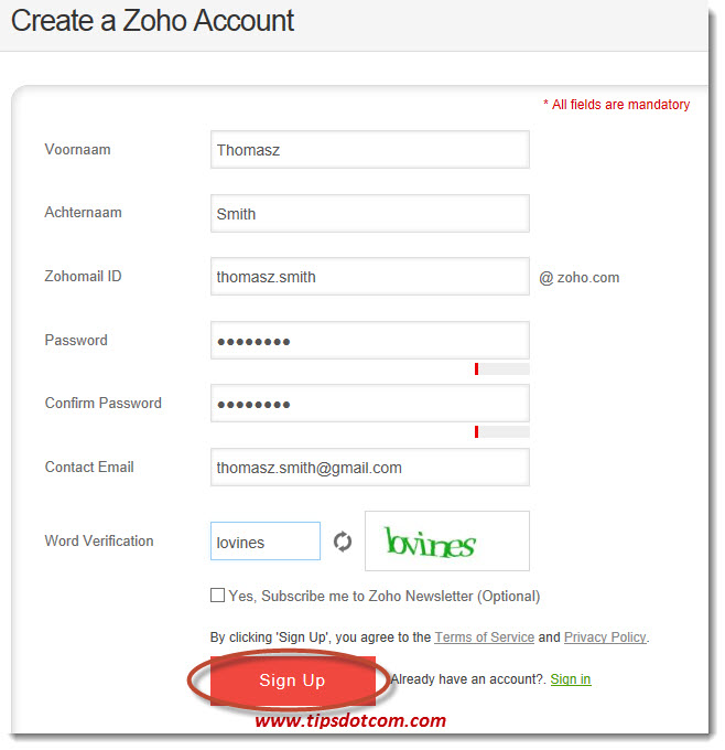 Zoho Email Step 01